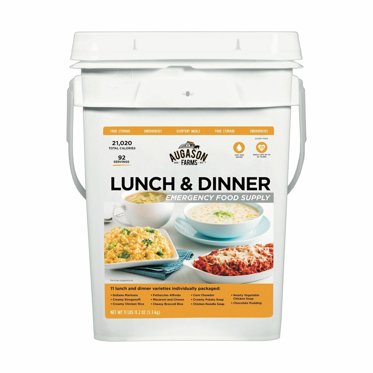 Augason Farms Lunch Dinner Pail Emergency Disaster Survival Camping Out RV Food