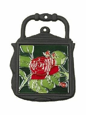 Red Rose Design Cast Iron and Ceramic Kettle Shape Kitchen Trivet