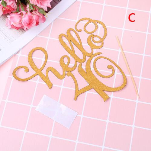 gold glitter hello 21//30//40//50//60 birthday cake topper party decor supplies CYWD