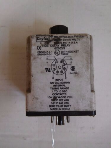 Dayton 6X603N OR 6X603F Time Delay Relay with Socket