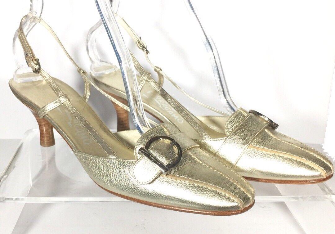 Salvatore Ferragamo Damenschuhe Gold Metallic Leder Slingback Logo Buckle Heels 9.5