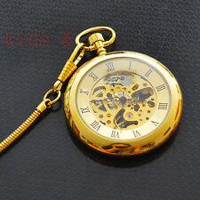 Auto Mechanica Classic Luxury Golded Skeleton  Men Pocket Watch+Leather Bag