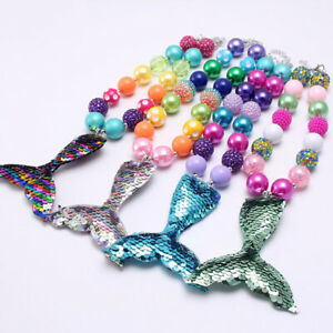 Children-Sequined-Fish-Tail-Pendant-Chunky-Bubblegum-Beads-Necklace-Jewelry-Toys