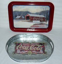 "LOT SET OF 2 COCA COLA TRAYS 17"" WINTER BRIDGE / OVAL COKE 16"" TRAY PLATTERS"
