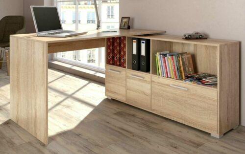 Oak Large Corner Desk Executive Office Computer Desk Workstation Table Cupboards