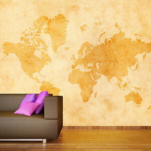 Wall Mural Large Vintage World Map Interior Wallpaper Photo Art - Large vintage world map