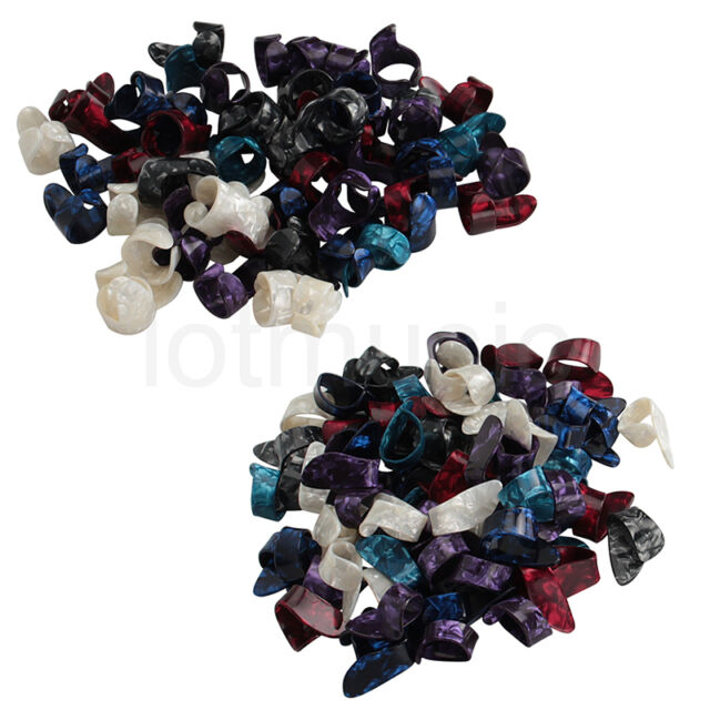 Guitar Tumb Finger Picks and 50 Finger Picks Plectrum Celluloid Mix Color 50Pcs