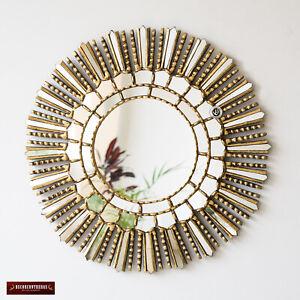 Gold Leaf Wood Wall Round Mirror Peruvian Decorative Sunburst Mirror Wall Decor Ebay