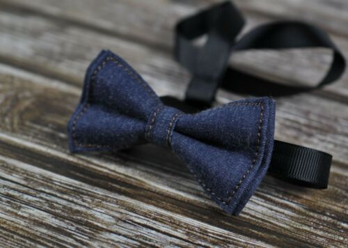 Boy Baby Kids Navy Blue Denim Bow Tie Navy Brown Elastic Leather Suspenders