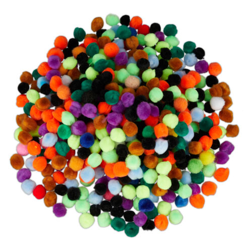Pompoms zum Basteln Bommel kleine Pom Pom Kugeln mini Pompon bunt 500er Set