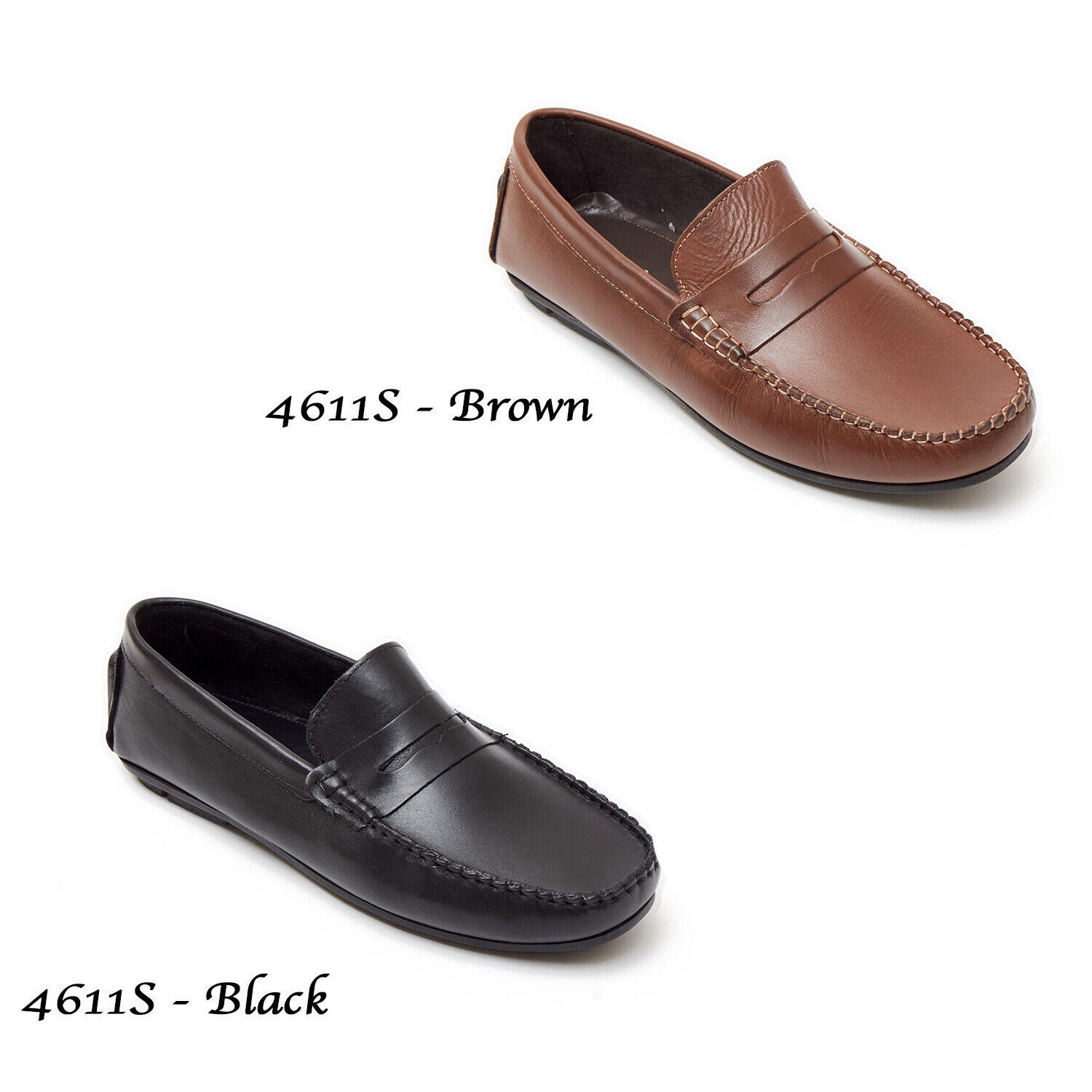 Mens Slip On Leather Loafers Smart Driving Shoes Casual Boat Moccasin