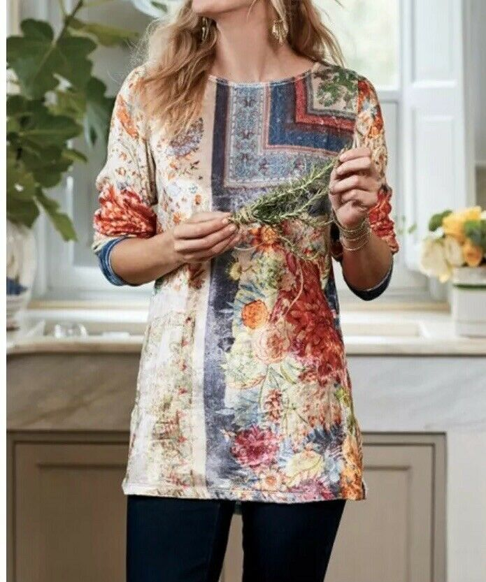 Soft Surroundings Floral Crushed Velvet Tunic Sz Large Asian Inspirot Ashbury