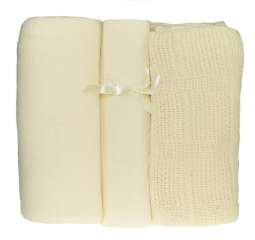 Soft Nursery Cot Bed Bedding 3 Piece Set Fleecy /& Cellular Blanket Fitted Sheet