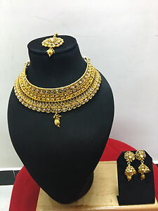 Indian-Ethnic-Gold-Plated-Bollywood-Bridal-Fashion-Gold-Jewelry-Necklace-Set