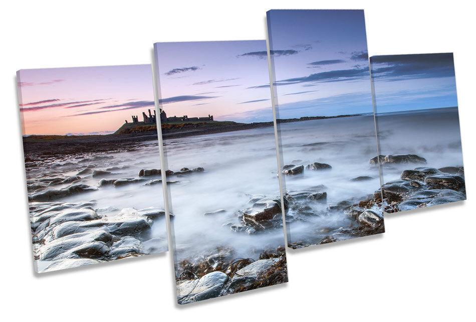 Sunset Dunstanburgh Castle MULTI MULTI MULTI CANVAS WALL ART Boxed Framed 27eff4