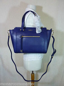 NWT FURLA Navy Blue Saffiano Leather Medium Ginevra Satchel Bag ...