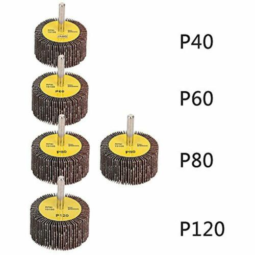 """Mounted Flap Wheels 2/"""" X 1/"""" With 1//4/"""" Shank 40 60 80 120 Grits For"""