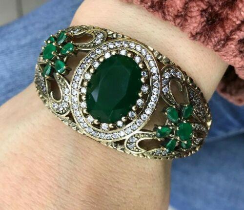 Turc fait main Émeraude Argent sterling 925K Bracelet
