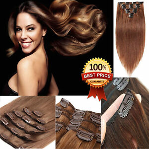 100-Remy-Extension-Per-Capelli-Clip-per-capelli-umani-18-pollici-110g-Clip-Marrone-Scuro-Regno-Unito