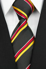 Black Hand Woven 100% Pure Silk Neck Tie with Red and Orange Diagonal Stripes