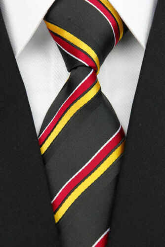 Black Hand Woven 100/% Pure Silk Neck Tie with Red and Orange Diagonal Stripes