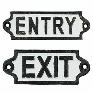 Entry-amp-Exit-Cast-Iron-Sign-Plaque-Door-Wall-Fence-Post-Cafe-Shop-Pub-Hotel