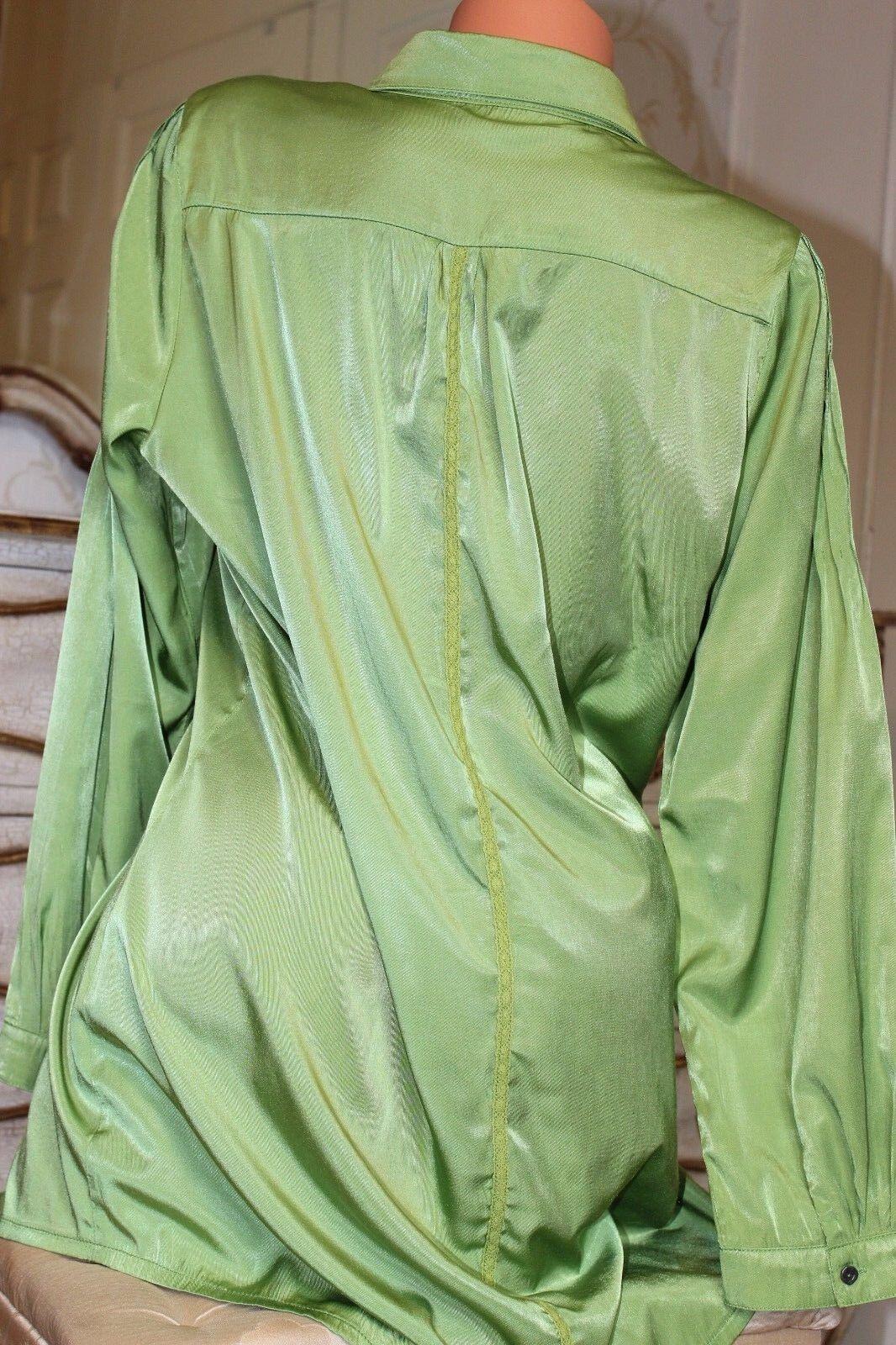 Z'BIZ  viscose mix lime green ladies shirt blouse tunic top size XL