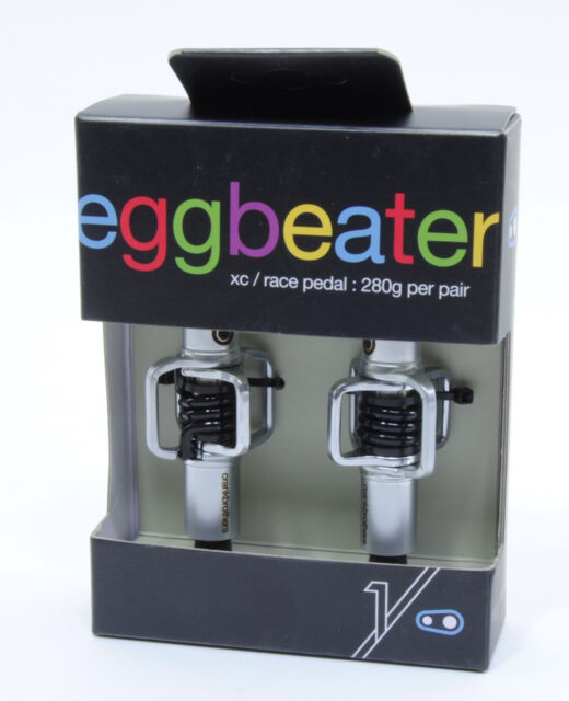 Crank Brothers Egg Beater 3 MTB Pedals Silver with Black Spring Eggbeater