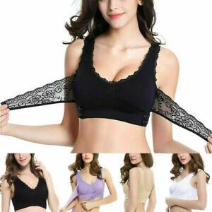 Women-Ladies-Lace-Bra-Front-Cross-Breathable-Side-Buckle-Wireless-Sport-Yoga-Bra