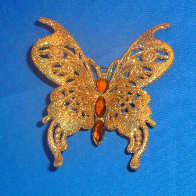 Pier 1 Imports - Glittery Gold Butterfly Christmas Tree Ornament Clip On - NEW