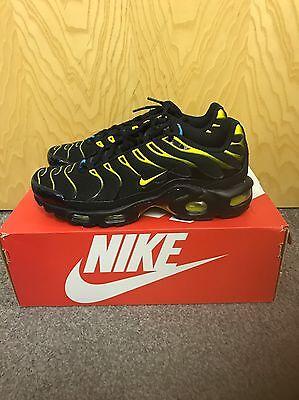 Nike Air Max Plus Tuned 1 Tn Black Tour Yellow Dynamic Blue Size 6 Uk