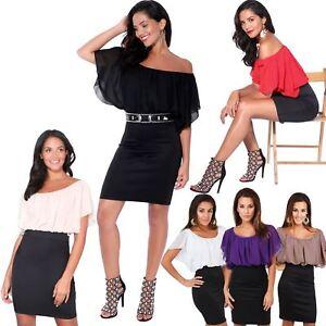 c30bbf7f1 Image is loading Womens-Ladies-Batwing-Chiffon-Mini-Pencil-Dress-Oversized-