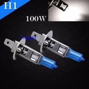 H1-Bright-White-5000K-100w-12v-Xenon-Halogen-Headlight-2x-Light-Bulb-High-Beam