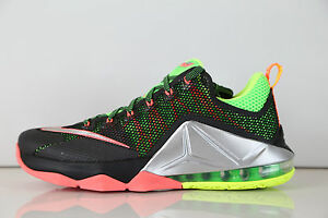 2a41c87b0d3f Nike Lebron XII Low Remix Black Silver Bolt Hot Lava 724557-003 7-14 ...