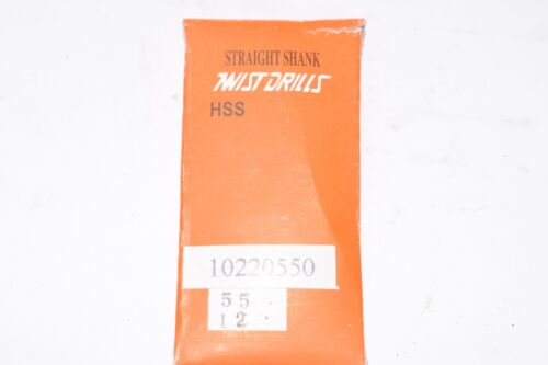 NEW 12 Piece Set of Size #55 Straight Shank Twist Head Drill Bits Bright Finis