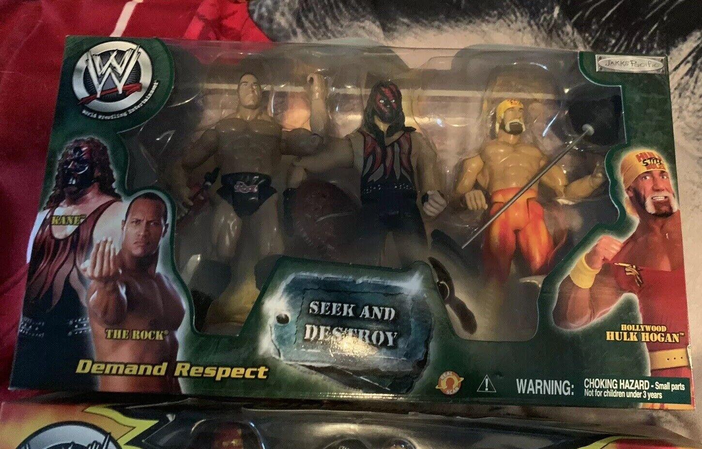 Wwe Wwf  busCoche y destruir  Conjunto de Figuras-Hulk Hogan, el Rock, Kane Nuevo Raro