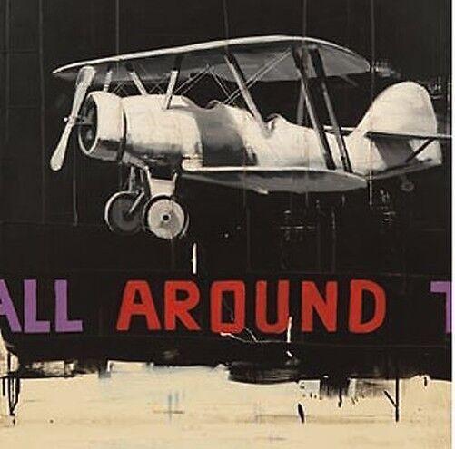 Antonio Massa  All Around Tableau Prêt 70x70 Mural Avion Voiture Ancienne