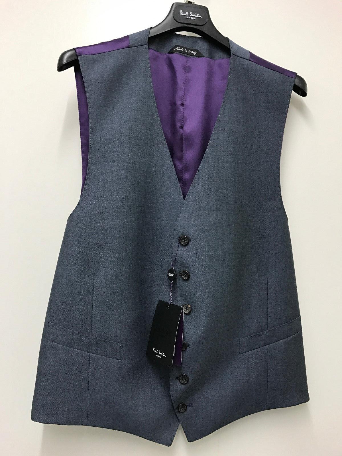Paul Smith Weste Petrolblau Klassische Passform London Wolle & Mohair 44R