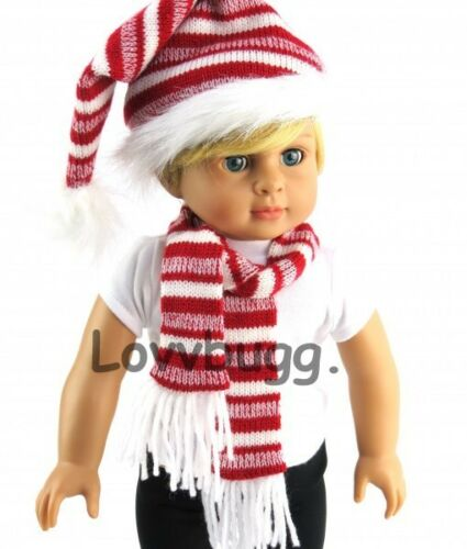 """Red White Stripe Hat /& Scarf Set Winter Coat for American Girl 18/"""" Doll Clothes"""