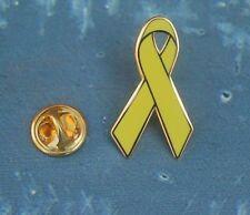 Gelbe Schleife mit Goldrand Solidarität Pin Badge Anstecker Anstecknadel Button
