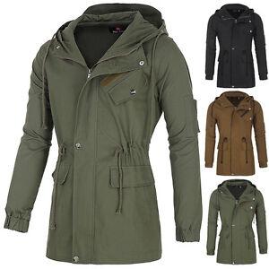 Hombre-Entallado-abrigo-gabardina-parka-chaqueta-con-capucha-Sudadera-Calido