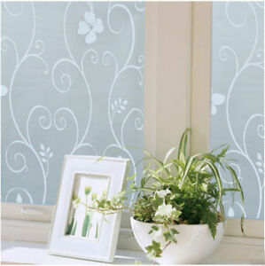 Decorative Floral Glass Shower Door 45x100cm Frosted Privacy Glass Window Door Flower Sticker Film Decor