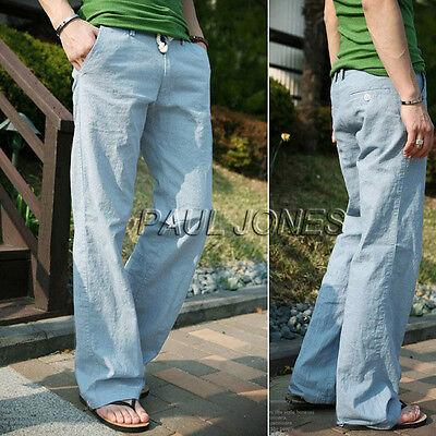 Loose Linen Slacks Mens Fashion Casual Pants Beach Drawstring Long Trousers 4sz