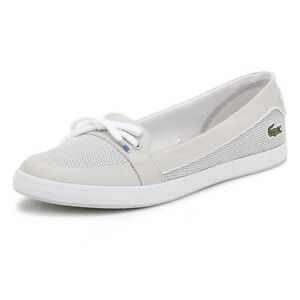 54d1297d9 Image is loading Lacoste-Womens-Boat-Shoes-Light-Grey-Lancelle-117-