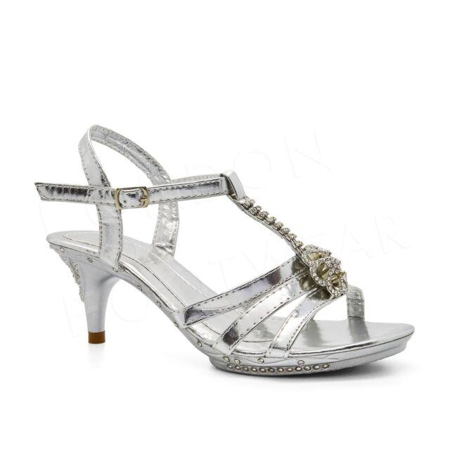 808a526e01 Girls Diamante Bridal Sandals Low Kitten Heel Shoes Party Bridesmaid ...