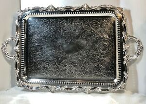 Birmingham-Silver-Co-Silver-Plated-Footed-Tray-Serving-Tea-Barware-Tray