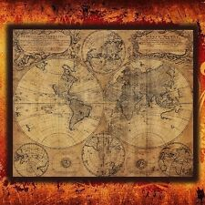 24''x 20'' Large Vintage Style Retro Paper Poster Globe Old World Map Home Decor