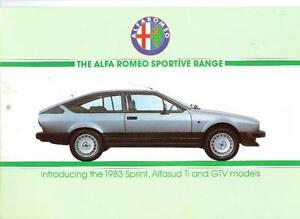 ALFA Romeo Sprint, ALFASUD TI & GTV sportive Gamme brochure 1983
