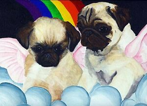 Fawn-PUG-ANGEL-Dog-Signed-8x10-Art-PRINT-from-Original-Oil-Painting-by-Vern
