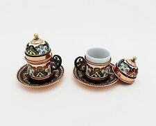 Copper Turkish Coffee Cups with Saucer and Lid Set of 2